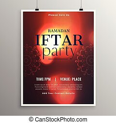 elegante, iftar, plantilla de la fiesta, invitación