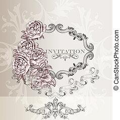 elegante, invitación boda, tarjeta