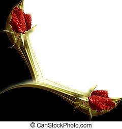 elegante, invitación, rosas rojas