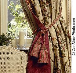elegante, janela, cortina