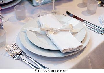 elegante, jantar, jogo, tabela, casório