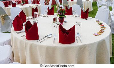 elegante, jantar, tabela.