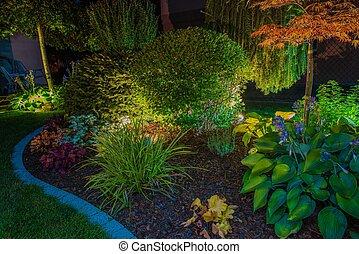 elegante, jardín, iluminación