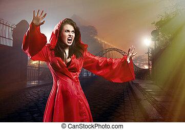 elegante, jovem, feiticeira, em, um, roupas vermelhas,...