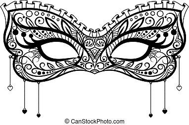 elegante, laccio, nero, maschera carnevale