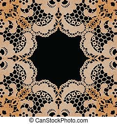 elegante, lacy, card., frame., convite