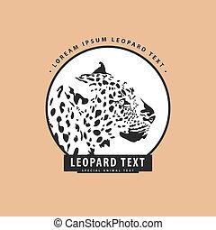 elegante, leopardo, logotipo