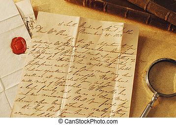 elegante, letra, letra, antigas