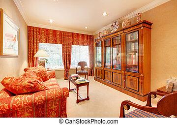 elegante, libro, cabinet., biblioteca, casa