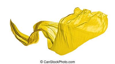 elegante, liscio, giallo, stoffa, fondo, bianco