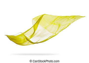 elegante, liscio, isolato, giallo, stoffa, fondo, bianco