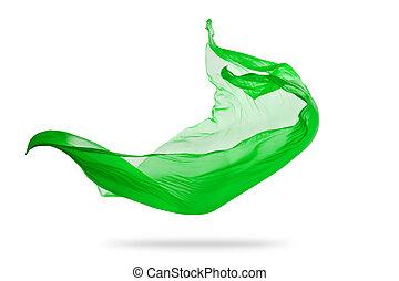 elegante, liscio, isolato, stoffa, sfondo verde, bianco