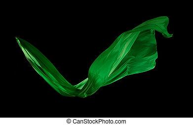 elegante, liscio, stoffa, sfondo nero, verde