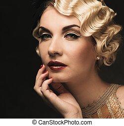 elegante, loura, retro, mulher, em, dourado, vestido, com, bonito, penteado, e, batom vermelho
