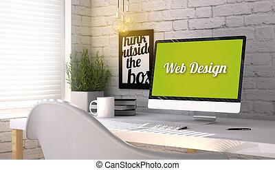 elegante, lugar de trabajo, con, computadora, con, diseño...