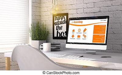 elegante, lugar de trabajo, con, computadora, con, e- aprendizaje, concepto, en, el, pantalla
