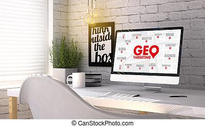 elegante, lugar de trabajo, con, computadora, con, geo, apuntar, concepto, en, el, pantalla