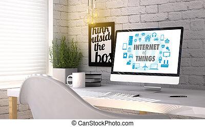 elegante, lugar de trabajo, con, computadora, con, internet, de, cosas, concepto, en, el, pantalla