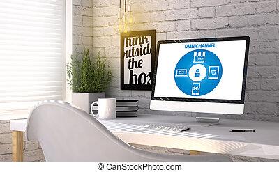 elegante, lugar de trabajo, con, computadora, con, omnichannel, concepto, en, el, pantalla