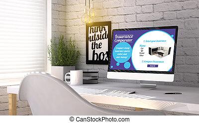 elegante, lugar de trabajo, con, computadora, con, seguro, comparator, en, el, pantalla