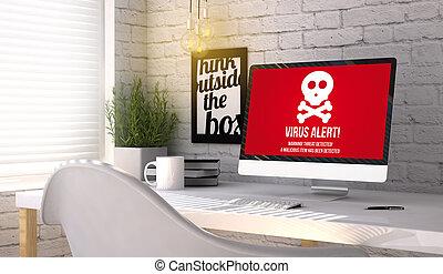 elegante, lugar de trabajo, con, computadora, con, virus, concepto, en, el, pantalla