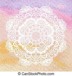 elegante, mandala., crochet, lacy, doily.