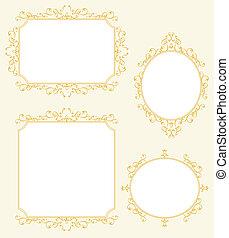 elegante, marco, frontera, decoraciones, conjunto