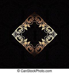 elegante, marco, plano de fondo, oro