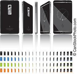 elegante, marcos, -, rotación, teléfono, 3d, 21