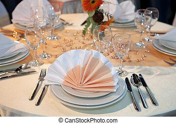 elegante, matrimonio, dinnner