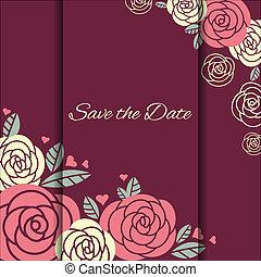 elegante, matrimonio, scheda, rose