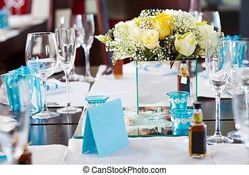elegante, matrimonio, tavola mette