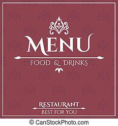 elegante, menú restaurante, design.