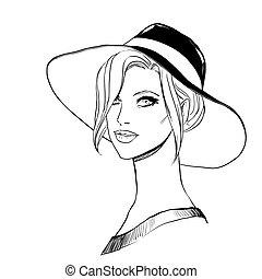 elegante, menina, chapéu