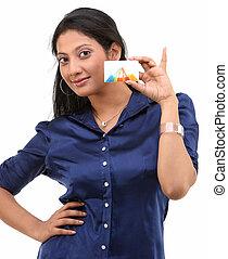 elegante, menina, com, cartão crédito