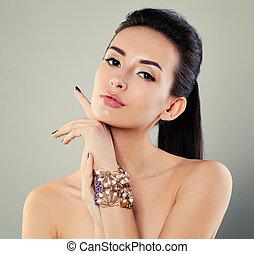 elegante, menina, com, makeup., jovem, bonito, modelo