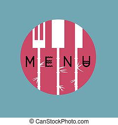 elegante, menu ristorante, disegno, in, asiatico, stile, -, variazione, 2