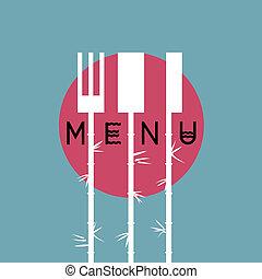 elegante, menu ristorante, disegno, in, asiatico, stile, -, variazione, 4