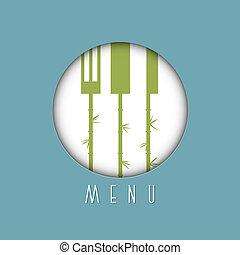elegante, menu ristorante, disegno, in, asiatico, stile, -, variazione, 6
