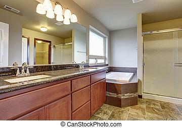 elegante, mestre, banheiro, com, azulejo, floor.