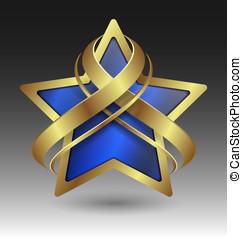 elegante, metálico, estrela, embleme, com, embelezamento