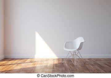 elegante, minimalista, sedia, bianco