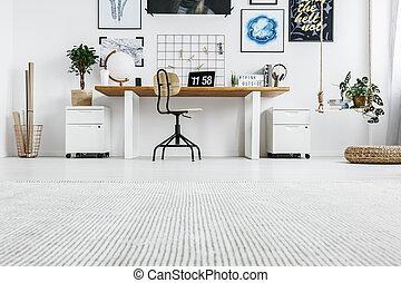 elegante, mobília, em, escritório lar