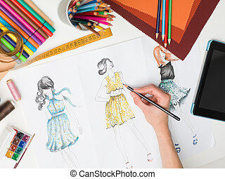 elegante, moda, criações