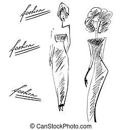 elegante, modello, moda, silhouette