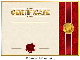 elegante, modelo, de, certificado, diploma
