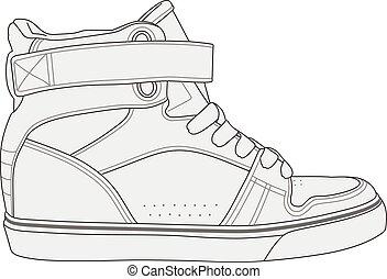elegante, moderno, zapatillas