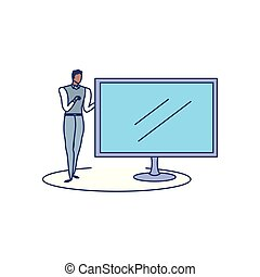 elegante, monitor computer, uomo affari