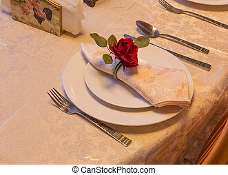 elegante, montaggio cena, piastra