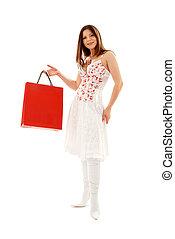 elegante, morena, bolsas para compras